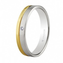 Alianza oro blanco y amarillo con diamante 5240299D