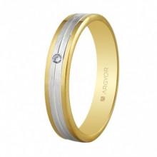 Alianza de oro bicolor Argyor con diamante 5240406D