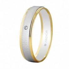 Alianza oro bicolor con diamante de 0,01ct 5245466D