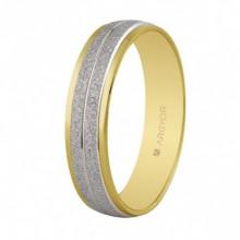 Alianza de oro bicolor texturizada de 4,6mm 5250386