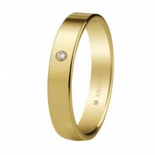 Alianza Argyor 18kilates en Oro Amarillo Brillo plana (4mm ancho) con un diamante 0,02ct