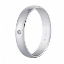 Alianza Argyor 18 kilates en Oro Blanco Brillo (4mm) con un diamante de 0,02ct.