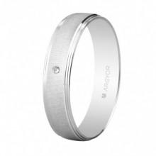 Alianza con diamante oro blanco texturizada 4,5mm 555B1466