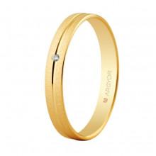 Alianza Argyor 18 Kilates en Oro amarillo Mate y Brillo (3mm ancho) con un diamante de 0.01ct