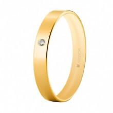 Alianza Argyor 18 kilates plana en Oro amarillo brillo interior bombe (3.5mm ancho) con un diamante de 0,02ct