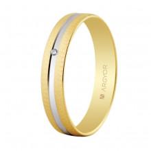 Alianza Argyor 18kilates en Oro Bicolor Mate y Brillo Rodio (4mm ancho) con un diamante de 0.01ct