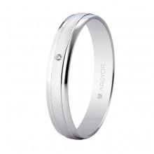 Alianza Argyor 18 kilates en Oro Blanco (3,5mm ancho) con un diamante de 0.01ct