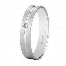 Alianza Argyor 18 kilates en Oro Blanco (4mm ancho) con un diamante de 0.02ct